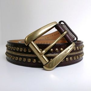 Michael Kors Brown Brass Studded Belt